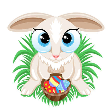 Easter bunny with Easter eggs in a basket sitting on the grass on a white background.