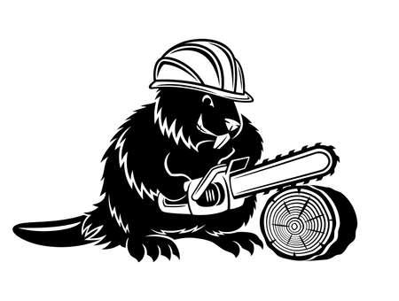 Beaver icon with chainsaw on white background. Ilustração