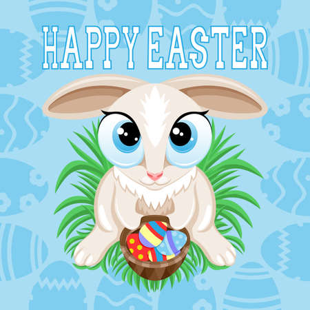 Illustration for Happy Easter with Easter bunny on blue background.
