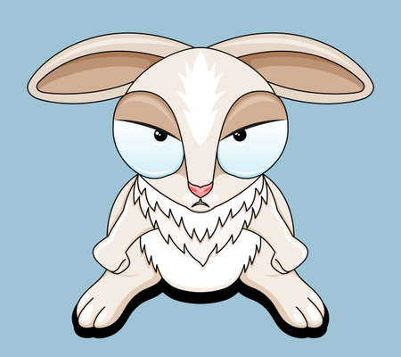 Illustration with angry rabbit on blue background.