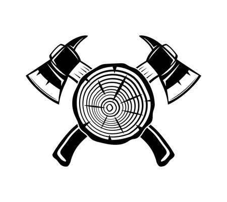 Illustration with two crossed axes and wooden element on white background.