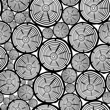 Seamless pattern with wooden elements on white background.