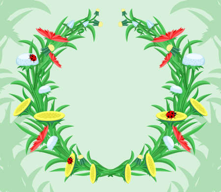 Wreath of flowers and herbs on a green background.