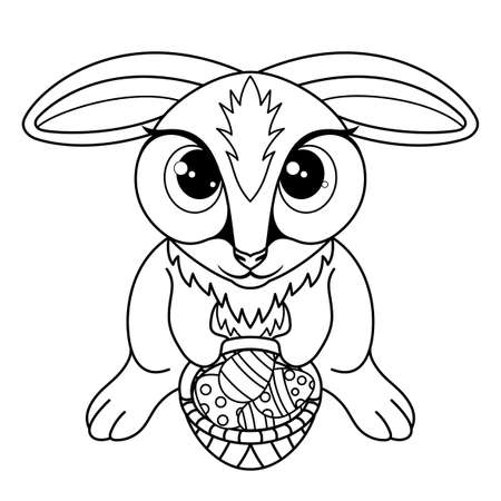 Outline drawing for coloring with Easter bunny on a white background. Ilustração