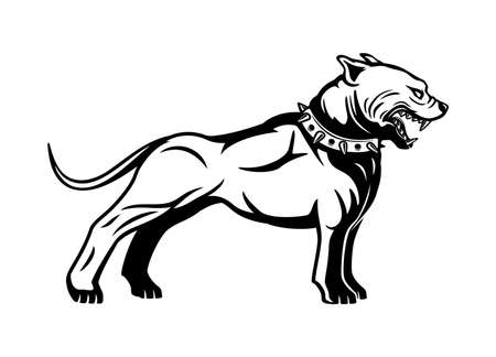 Black sign dog breed pit bull terrier on a white background.