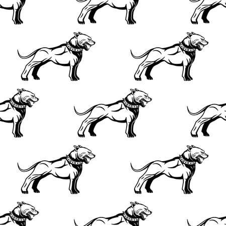 Seamless pattern with dogs on white background. Ilustração