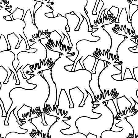 Seamless pattern with deer on white background. Ilustração