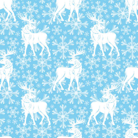Pattern with deer and snowflakes on a blue background.