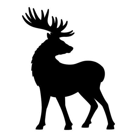 Illustration with deer icon isolated on white background.