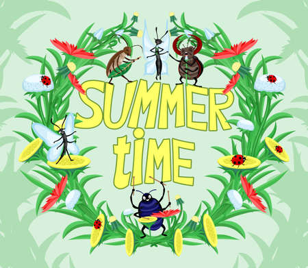 Summer time illustration with floral wreath and beetles on green background.