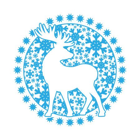 Outline round icon with deer and snowflakes on white background.