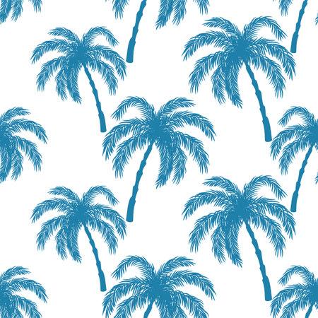 Seamless pattern with blue palm trees on white background. Ilustração