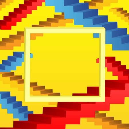 Abstract background with frame and colored ladders on yellow background.