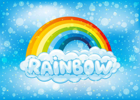 Illustration of a bright rainbow and clouds in the blue sky.
