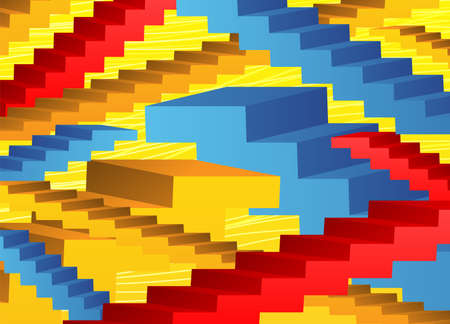 Abstract background with colored stairs on a yellow background. Ilustração