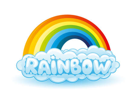 Bright rainbow icon with clouds on white background. Ilustração
