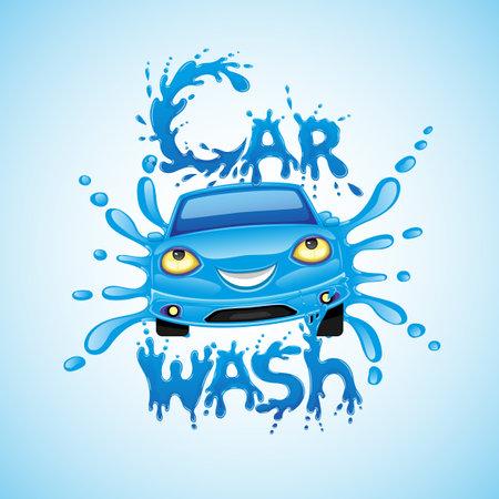 Car wash sign with blue car and water splashes on blue background. Ilustração