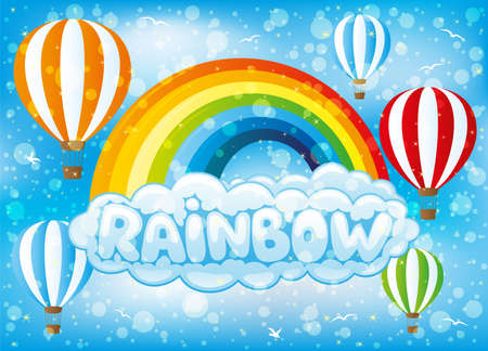 Rainbow with clouds and balloons in the blue sky. Ilustração
