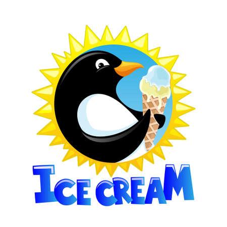 Round icon penguin with ice cream and sun on white Ilustração