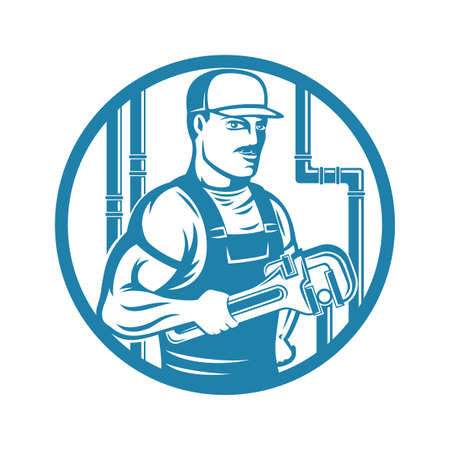 Plumber with adjustable wrench round blue icon