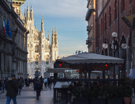 nascent: MILAN, ITALY - January 13, 2016: View on Duomo Catedral from via Dante in Milan, Italy