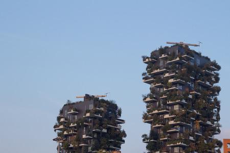 bosco: MILAN, ITALY - October 22 2016: Bosco Verticale (Vertical Forest) complex building designed by Stefano Boeri