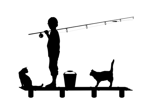 footway: Silhouette of the child with a fishing tackle on wooden planked footway in an environment of cats