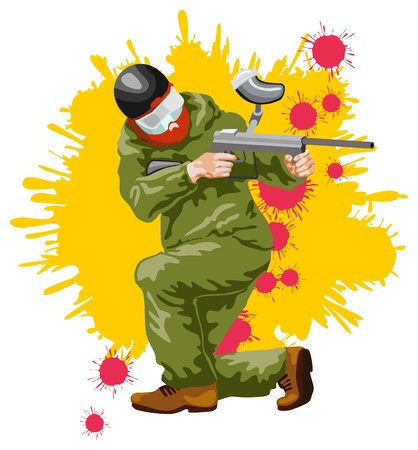 paintball: illustration of a figure of the player in a paintball on a background from blots Stock Photo