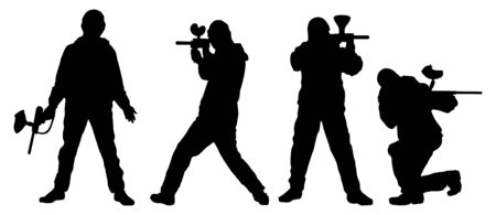 set of silhouettes of the players in paintball photo