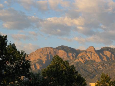 sandia mountains at sunset photo