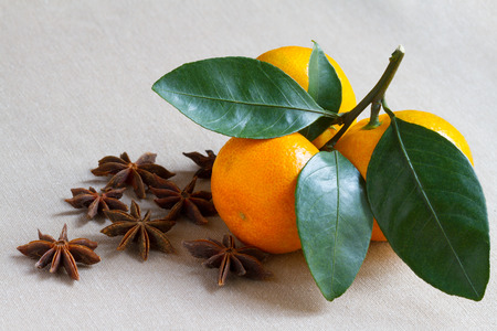 Mandarin orange and some spices on the table photo