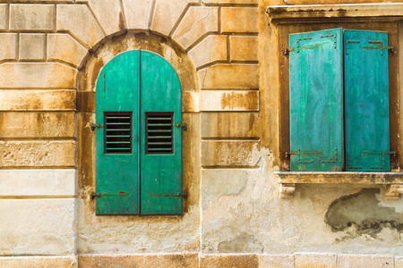 mediterranian: The wall and the window, mediterranian architecture. Stock Photo