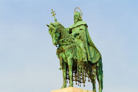 fishermens: Man on horse - statue of St Stephen at the Fishermens bastion. Stock Photo