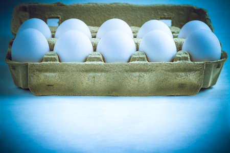 tinted: White eggs in a carton box with copy-space, tinted in blue and filtered. Stock Photo