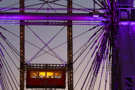 prater: VIENNA - NOVEMBER, 2. Prater park old ferris wheel cabin and metal construction, November, 2, Vienna, Austria.