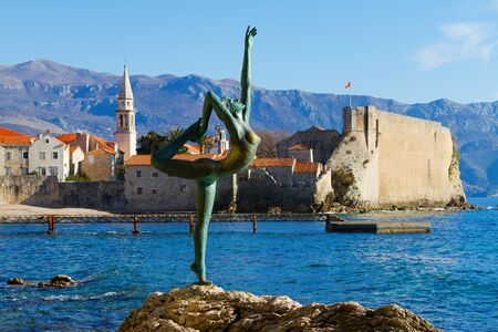 budva: Bronze statue of dancing girl, Mogren beach, Budva.