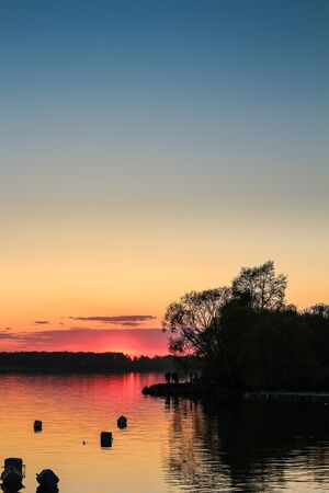 beautiful sunset on the river Stock Photo