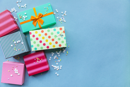 Holidays giftboxes on the pastel mint background for  mothers day, christmas, birthday Stok Fotoğraf