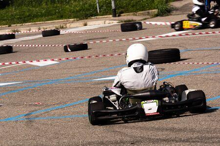 panning: panning of karting Editorial