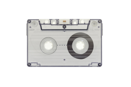 compiler: The blue transparent cassette tape on white background Stock Photo