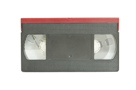 compiler: The black-red VDO tape on white background Stock Photo