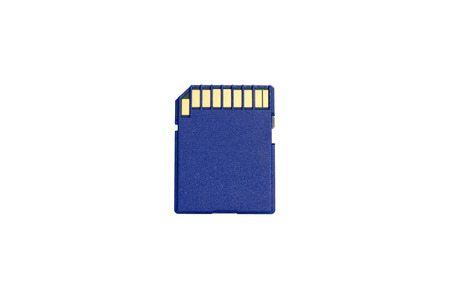 The blue SD card on white background photo