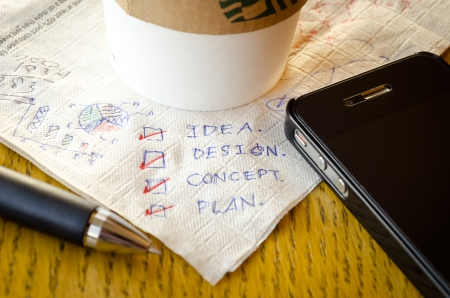 deliberation: Coffee cup on brown full of idea tissue