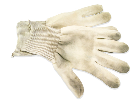 dyad: A pair of white dirty used gloves on white background Stock Photo