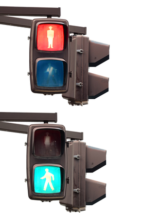 Green and red pedestrian traffic light on white  photo