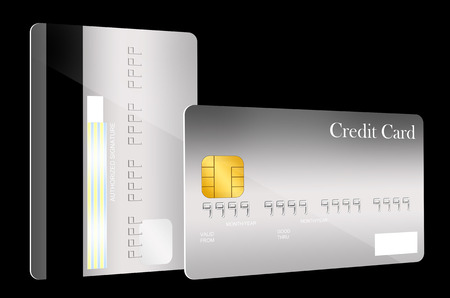 Front and back gray credit card template photo