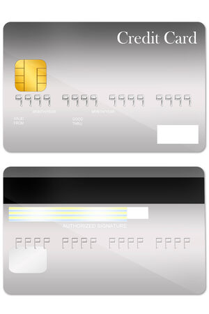 Front and back gray credit card template on white background photo