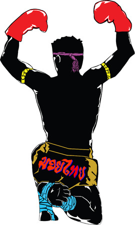 promoter: Back of Black silhouette muay thai character in complete suit with respect to boxing teacher demeanor