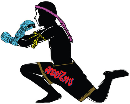 Black silhouette muay thai character in complete suit with respect to boxing teacher demeanor