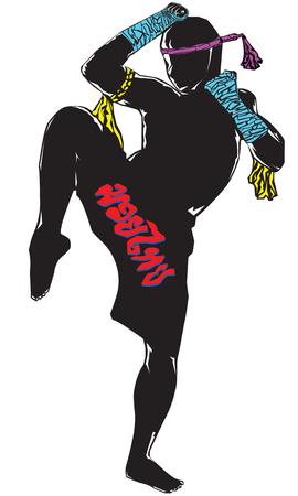 self defense: Negro silueta Muay thai personaje en traje completo con la pierna porte guardia Vectores